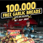 DEAL: Domino's – 100,000 Free Garlic Breads Giveaway with Deliveries from 16-22 July