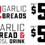DEAL: Domino's – 2 Sides for $5 (2 Garlic Breads/Garlic Bread+1.25L Drink)