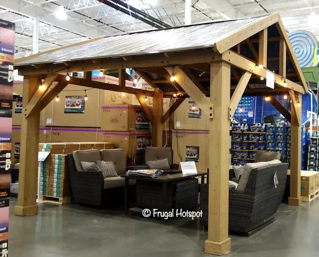 Costco Sale: 14′ x 12′ Yardistry Wood Pavilion w/Aluminum ... on Yardistry Backyard Pavilion id=83202