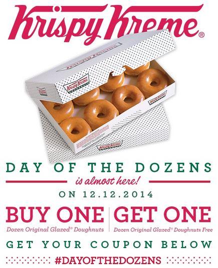 Krispy Kreme BOGO FREE Dozen Doughnuts December 12 2014