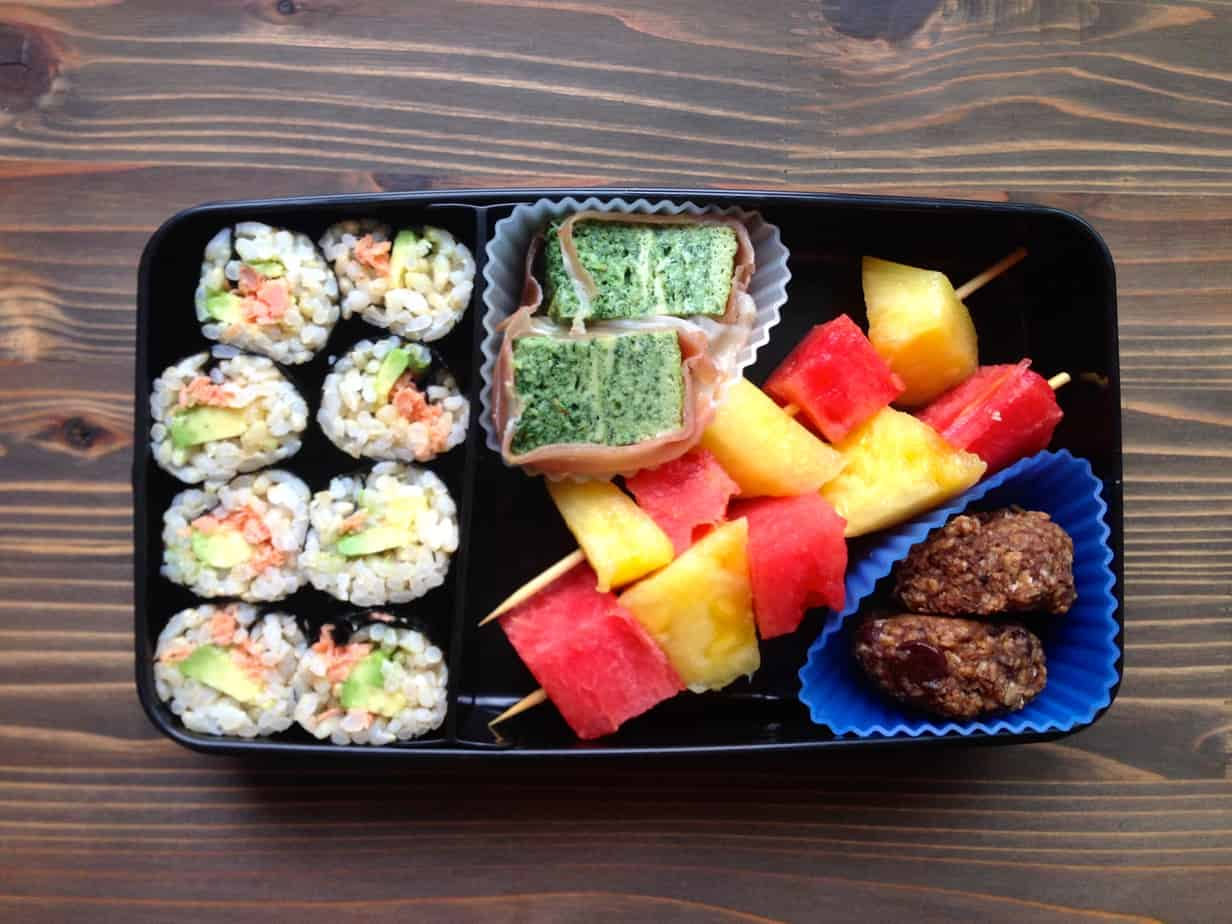Real Food Bento Box Salmon Avocado Sushi