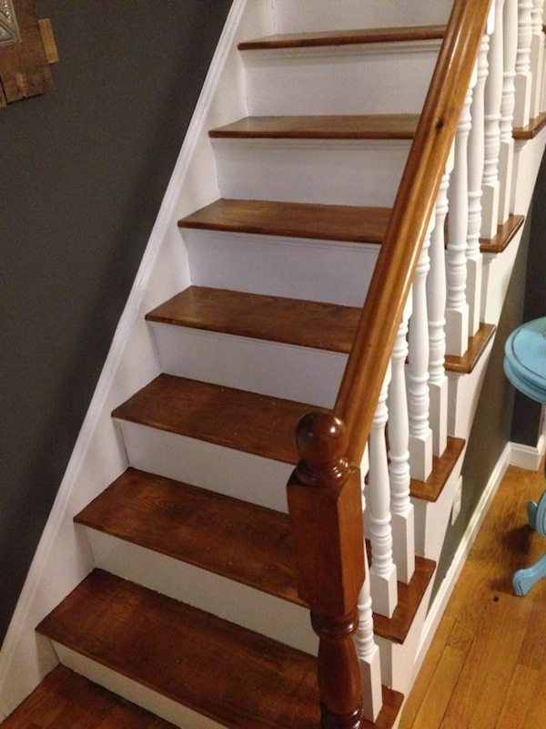 How To Refinish A Staircase For Under 50 Frugalwoods | Painted And Stained Stairs | Easy Diy | Two Tone | Espresso Stained | Pinterest | Home