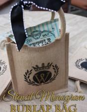 Stenciled Burlap Goodie Bags