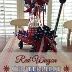 Red Wagon Patriotic Table Centerpiece