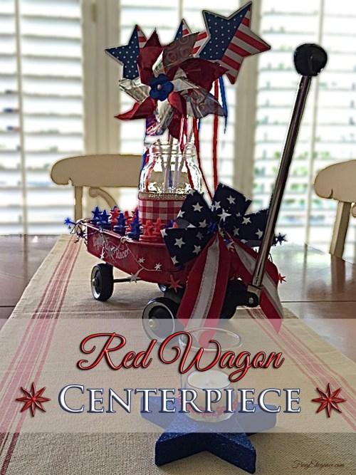 Red Wagon Centerpiece | FrugElegance | www.frugelegance.com