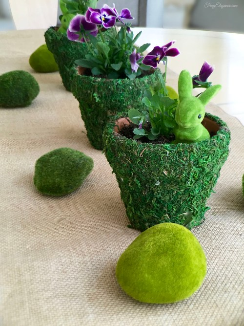 Spring Decor Moss Covered Pots | FrugElegance | www.frugelegance.com