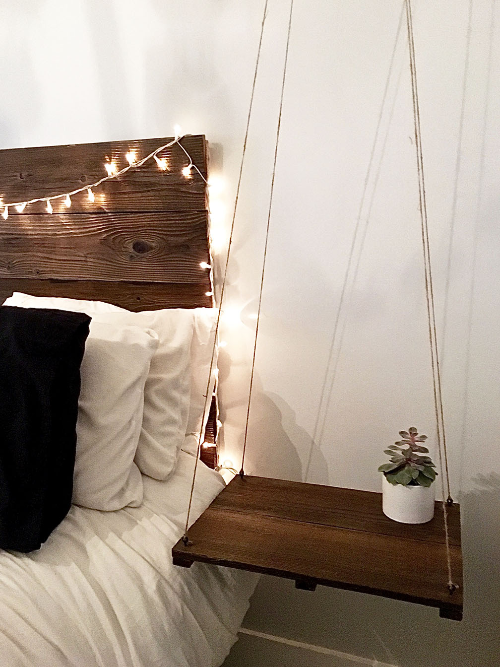 Rustic Amp Elegant Headboard With Floating Side Table