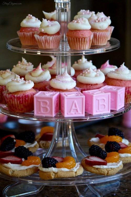 Baby Shower Cupcake Tower | FrugElegance | www.frugelegance.com