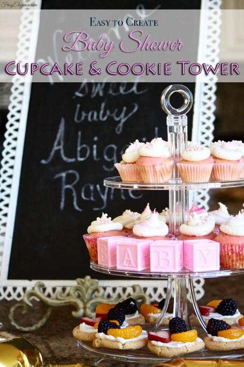 Baby Shower Cupcake Tower Title   FrugElegance   www.frugelegance.com