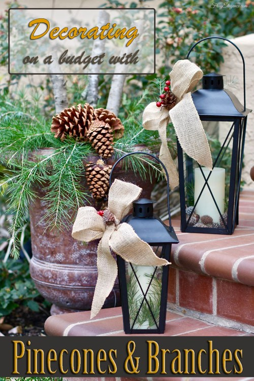 Decorating with Pinecones & Branches by FrugElegance.com