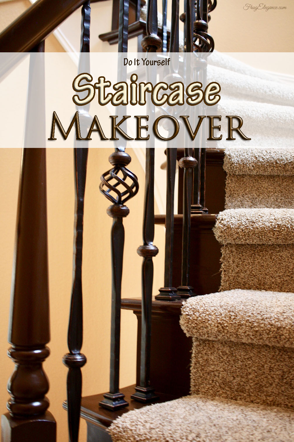 Do it yourself staircase update frugelegance this home improvement project is quite different from our usual we tend to do things that are quick easy but this project is far from that solutioingenieria Images