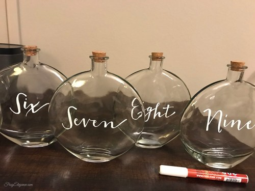 Wedding Decor Glass Jar Table Numbers by FrugElegance.com
