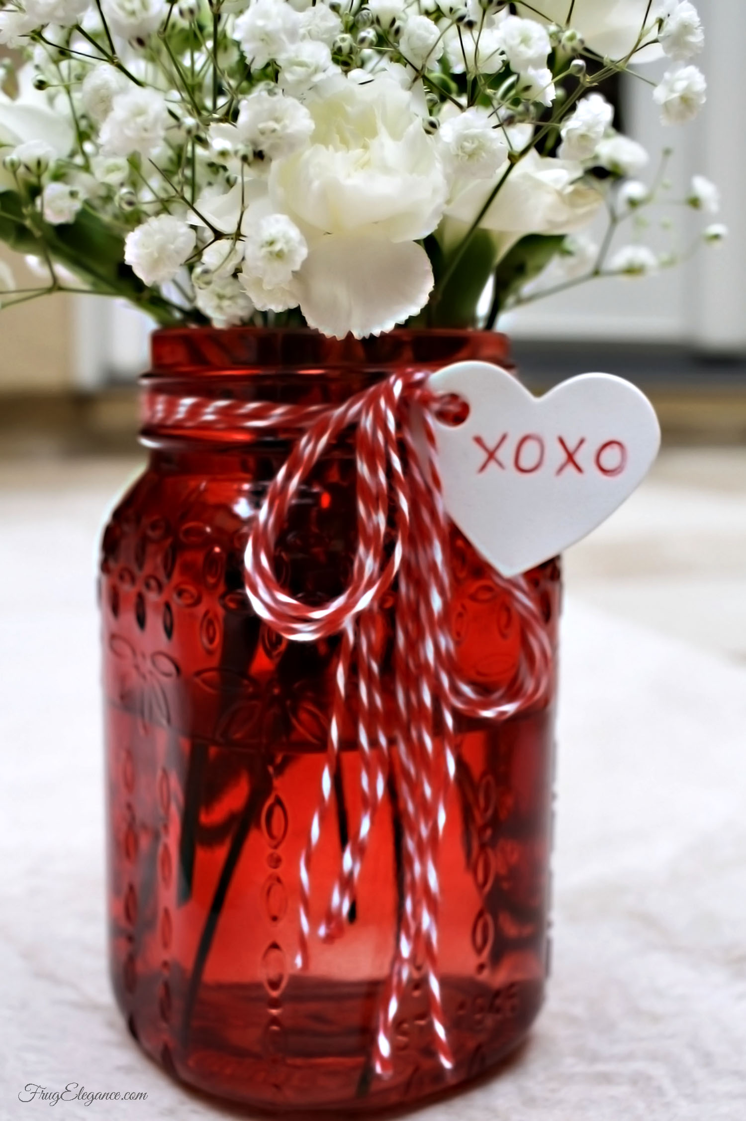 Valentines Mason Jar Vases FrugElegance