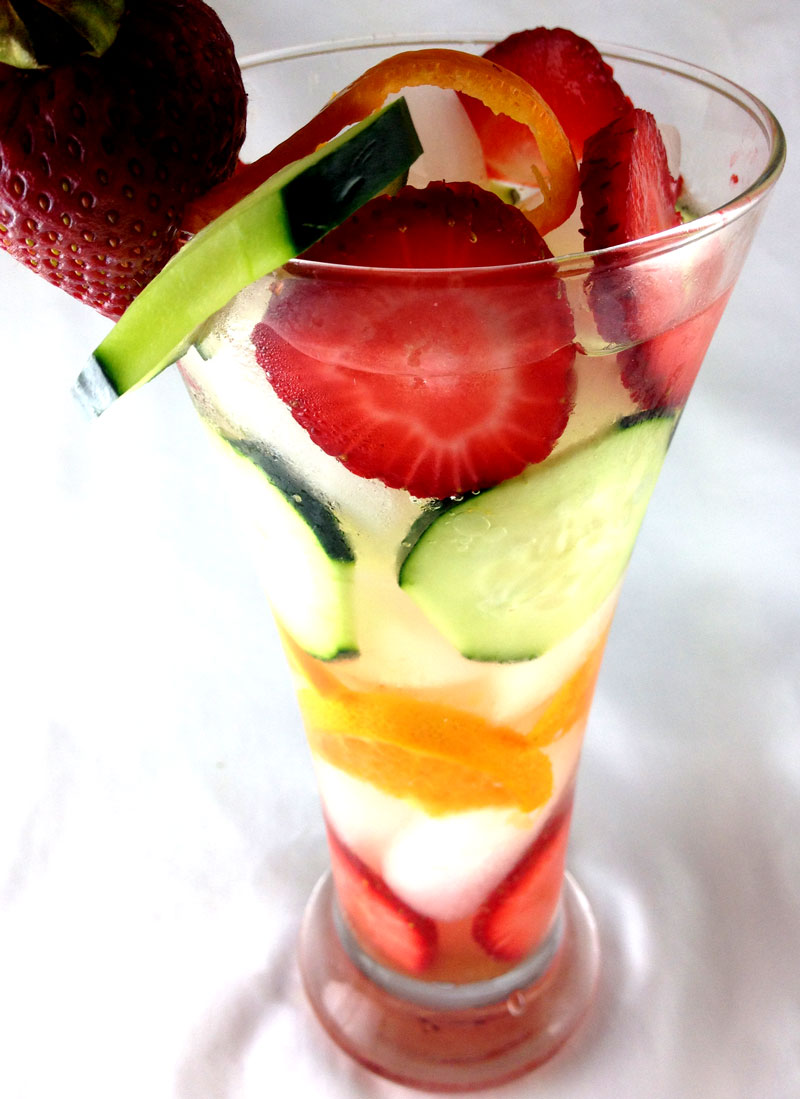 Tangerine, Cucumber and Strawberry Infused Water