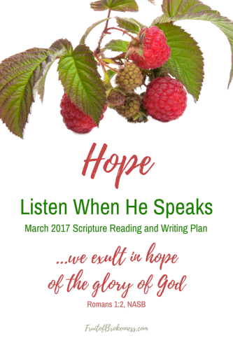 Christians are never without hope. But what about when we can't feel it? Feeling hopeful or hopeless, we need to remember our True Hope, which is why our Listen When He Speaks March 2017 them is HOPE! Join us?