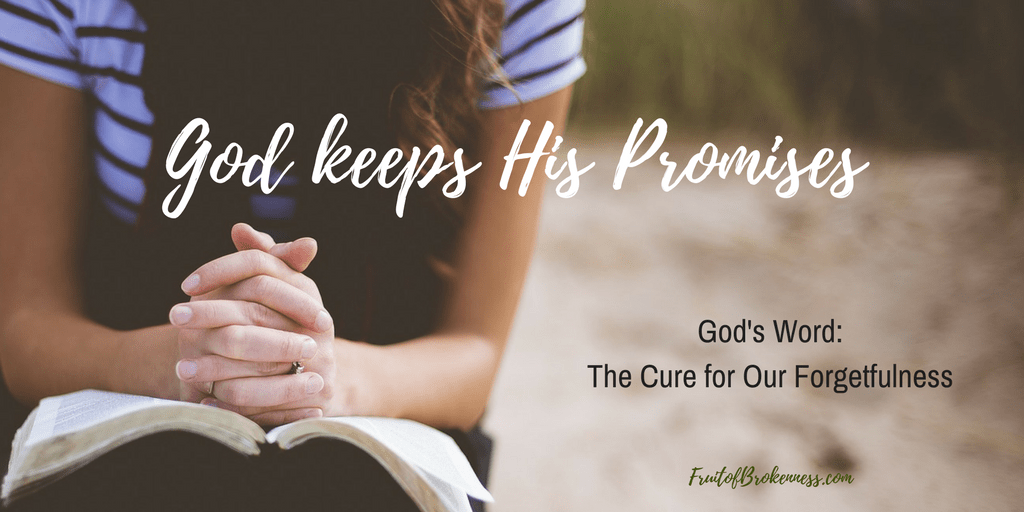 God keeps His Promises, but our memories are short. How can we remember God's Promises? By reading His Word.