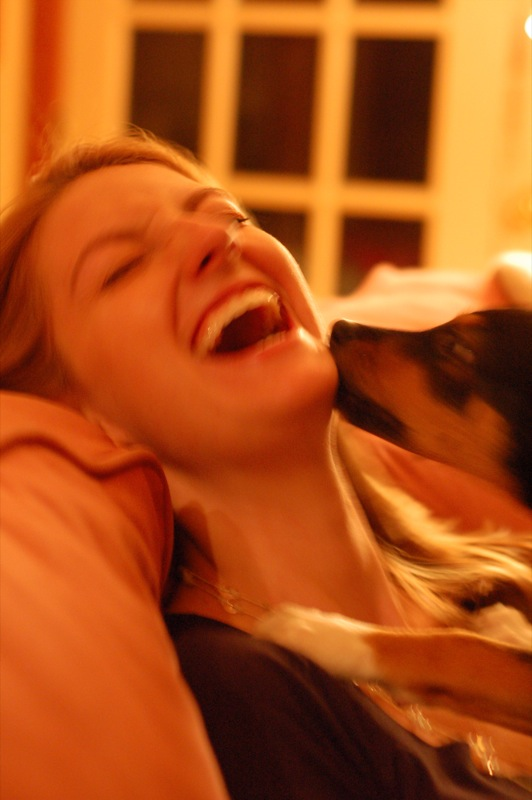 Puppy licking laughing woman