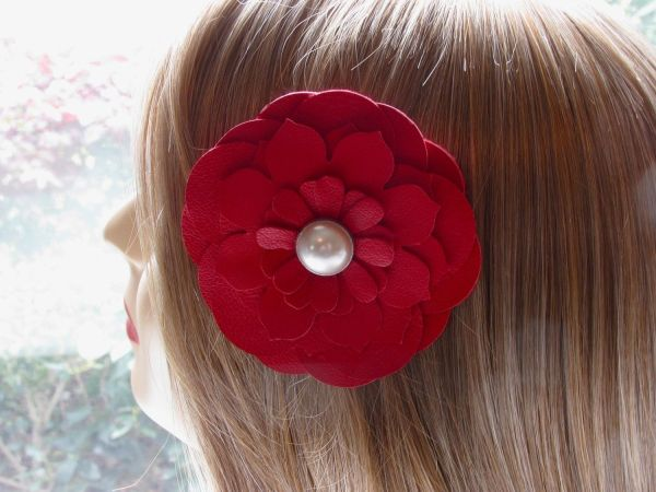 Picture of a leather flower hair accessory
