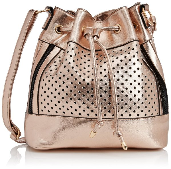 Shimmer with this beautiful gold bag