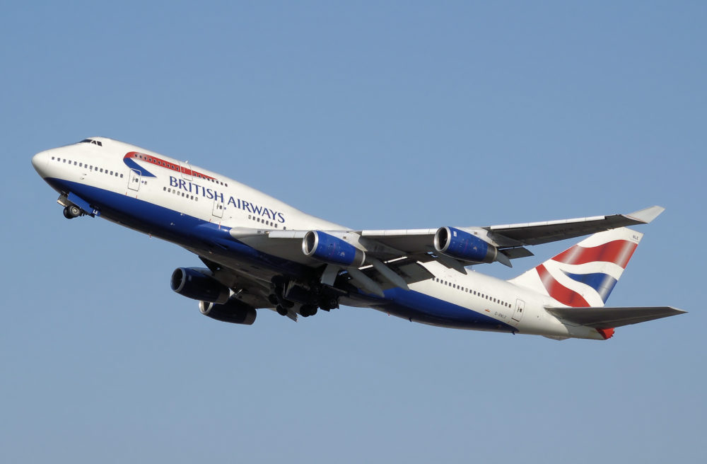 airplane British airways fly sky