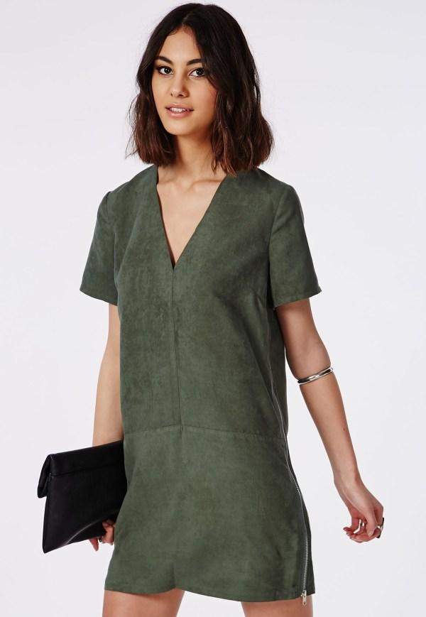 Green suede mini t-shirt dress