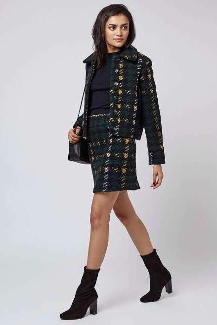 Topshop High-Waisted Check A-Line Skirt - £32