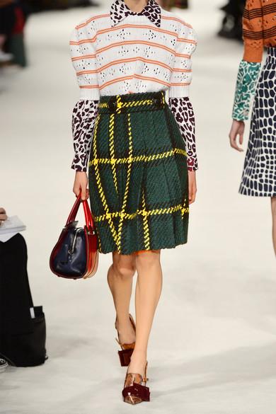 Miu Miu Pleated Plaid Wool And Cotton-Blend Boucle-Tweed Skirt - £1,370