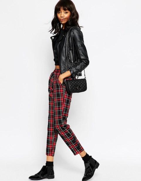 ASOS Woven Peg Trousers In Tartan Check - £28