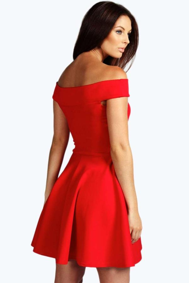 Boohoo red skater dress