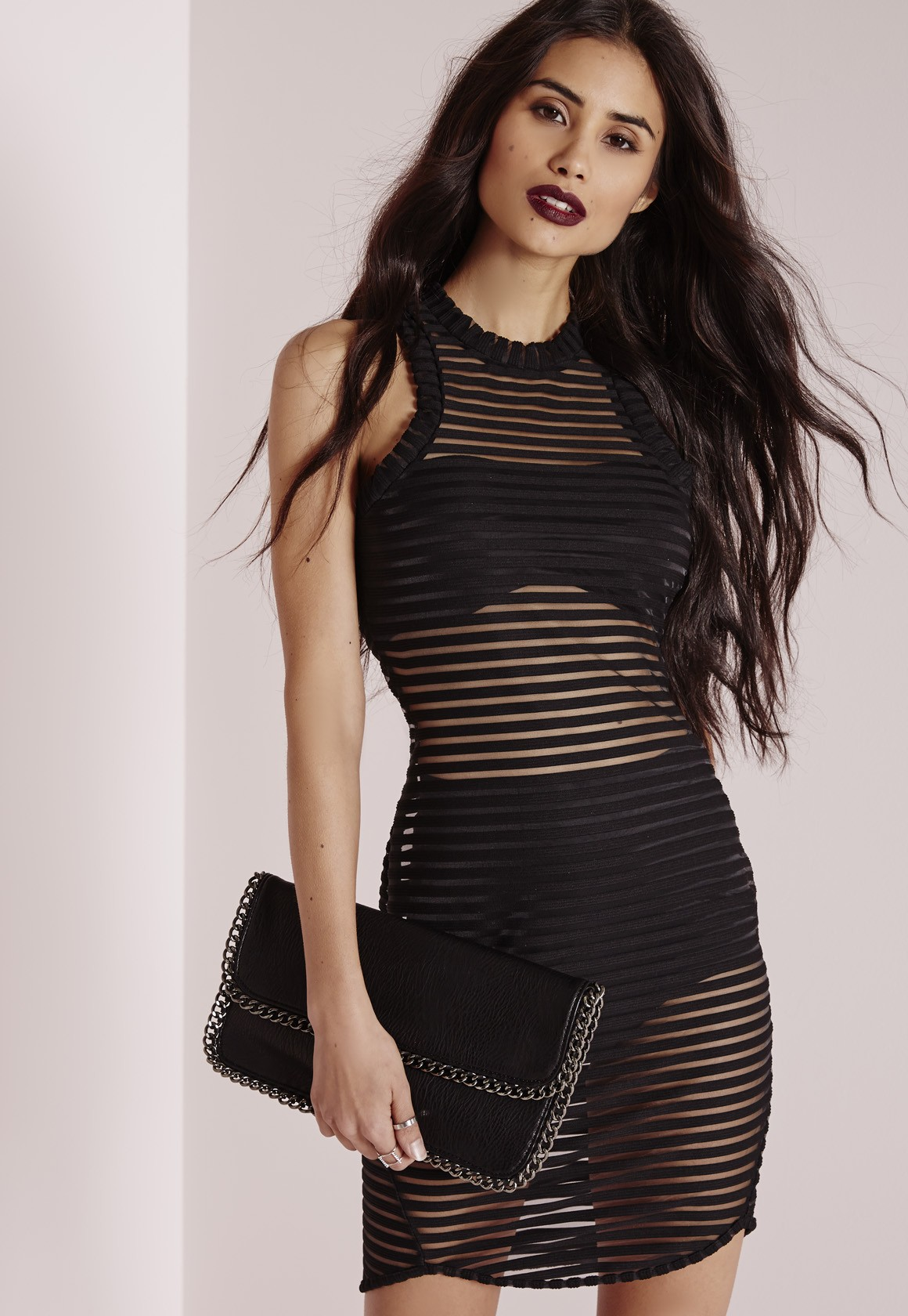 Missguided Sheer Stripe Bodycon