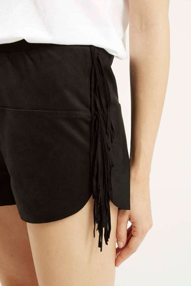 Suedette fringed shorts
