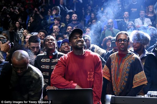 New album: The rapper beamed as he played his new record The Life Of Pablo for the crowd Read more: http://www.dailymail.co.uk/tvshowbiz/article-3443547/What-day-Kim-Kardashian-Kanye-West-sneak-hotel-NYFW-fashion-listening-party.html#ixzz3zxGAxuMJ  Follow us: @MailOnline on Twitter | DailyMail on Facebook