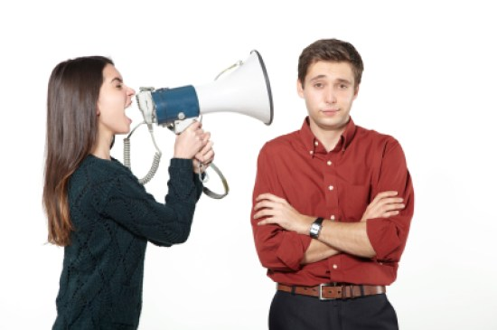 Woman criticising man