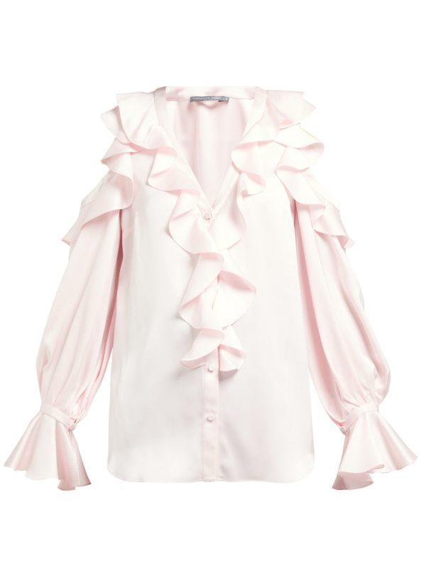 Ruffle silk blouse