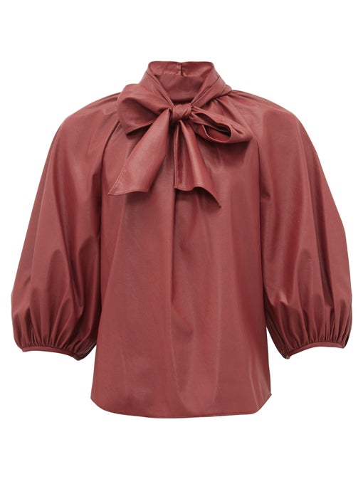 Neck-tie faux-leather blouse