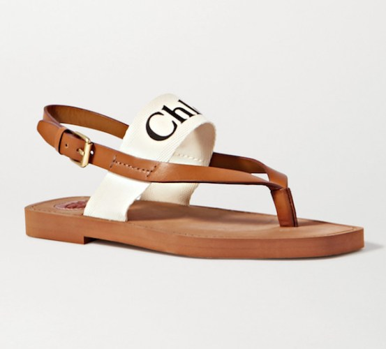 CHLOÉ Logo-print canvas and leather sandals, £315