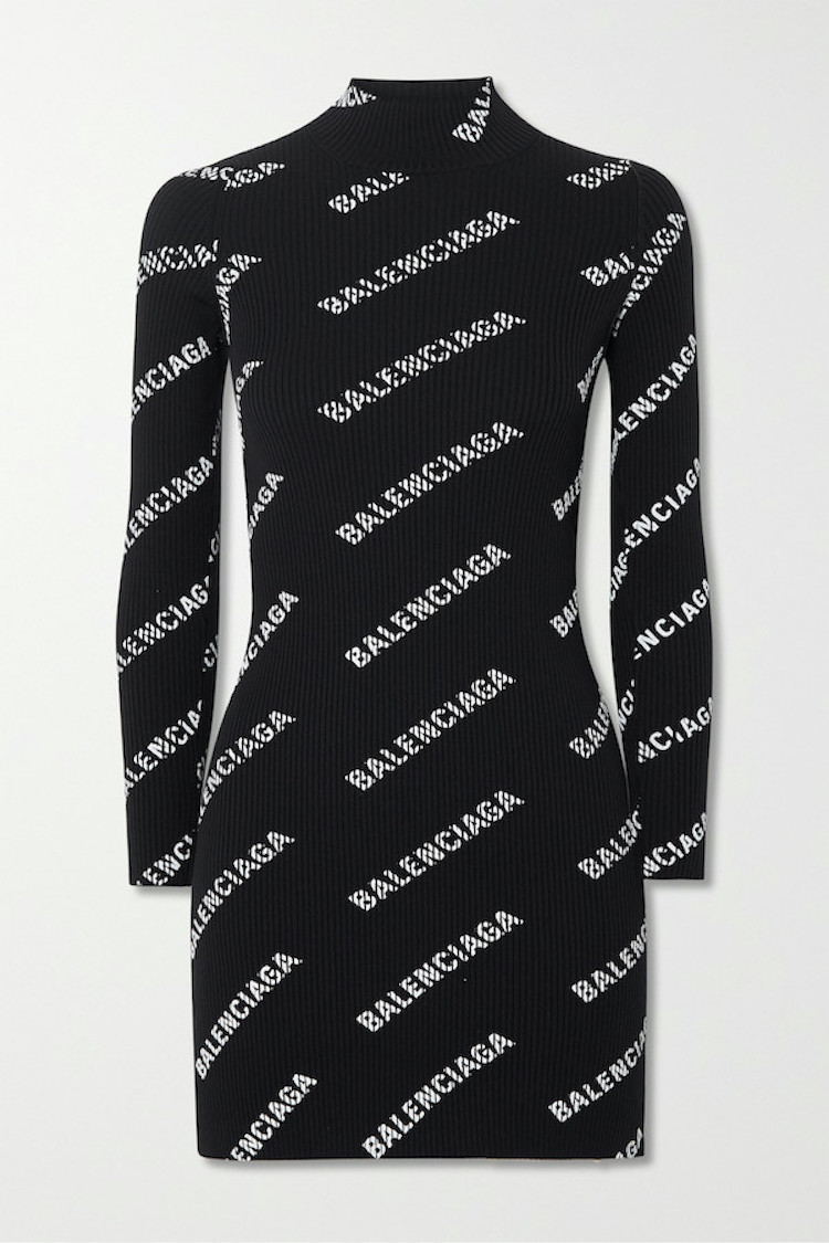 Black knitted Balenciaga printed logo mini ribbed dress