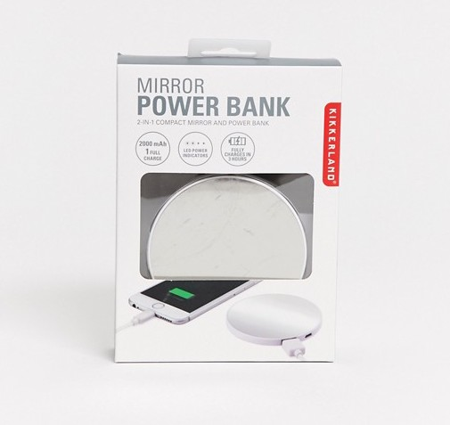 Asos Kikkerland 2in1 compact mirror and power bank