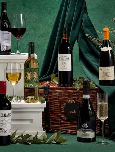 HARRODS Luxury Wine Hamper wicker gift