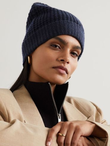 MADELEINE THOMPSON Holby waffle-knit cashmere beanie hat
