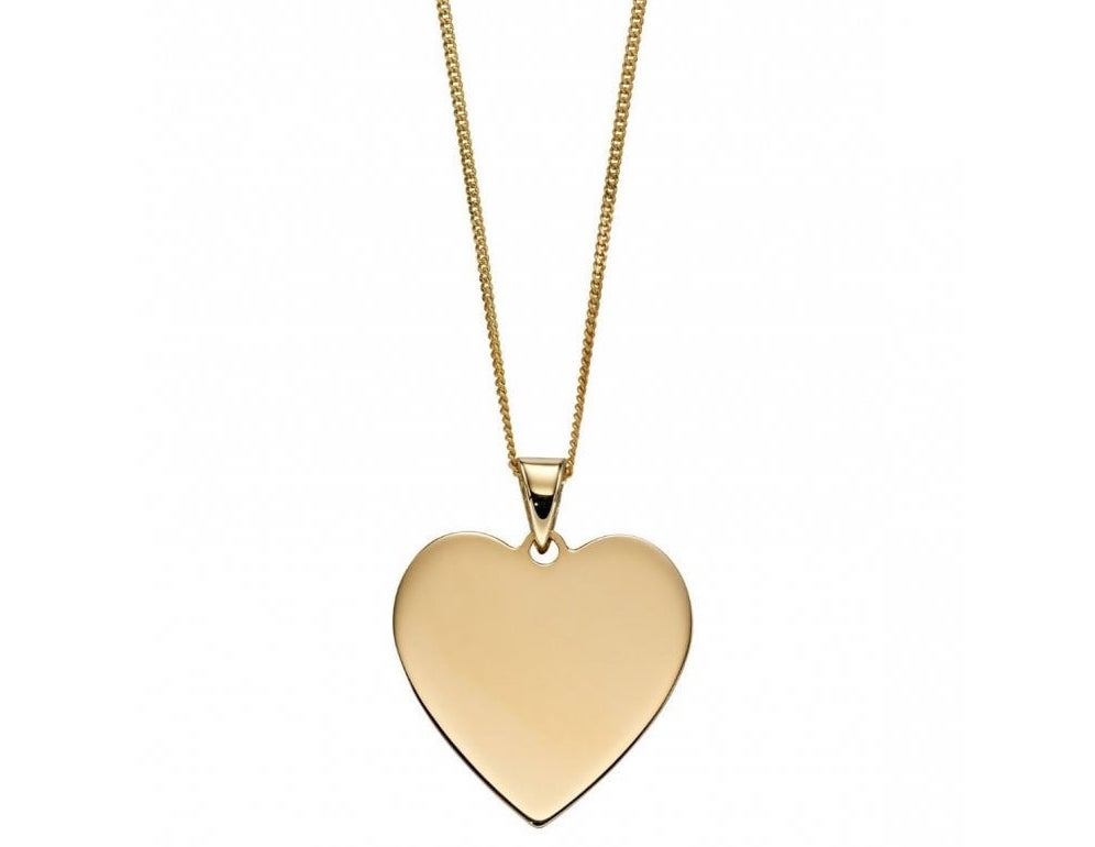Joshua james precious 9ct yellow gold engravable heart pendant