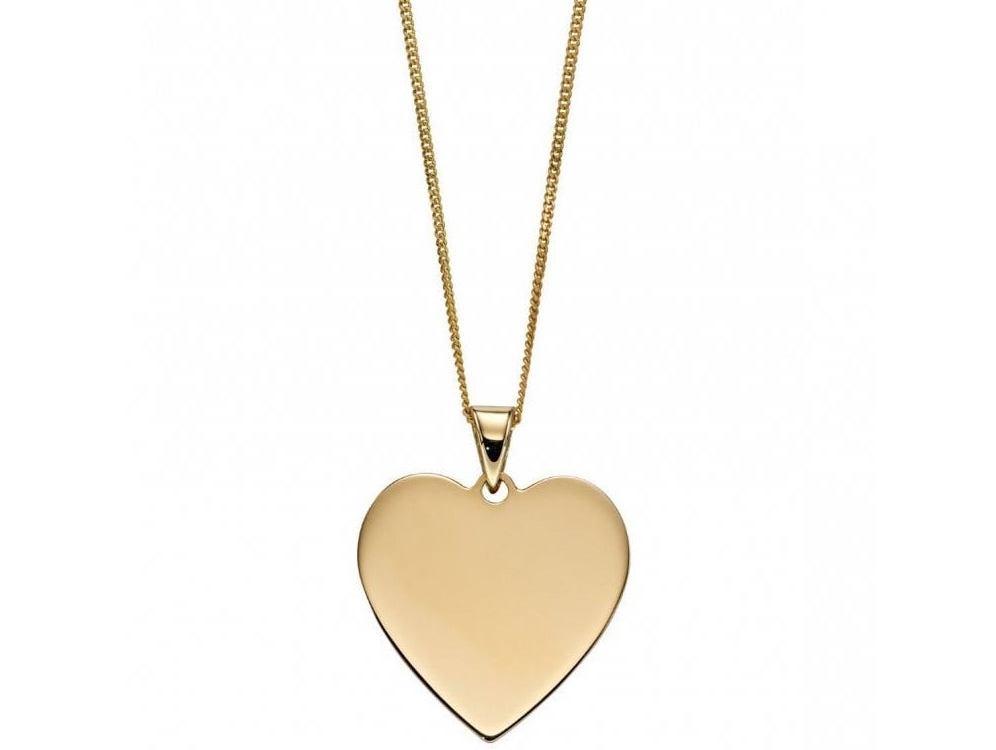 Joshua james precious 9ct yellow gold engravable heart pendant