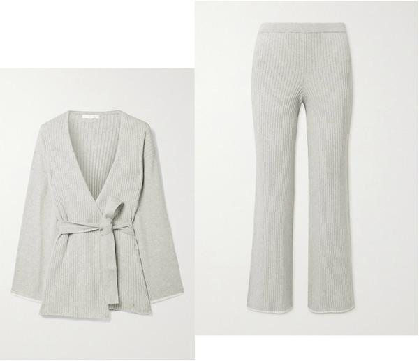 Skin Marissa belted ribbed cotton and cashmere-blend cardigan, £245 and Pants £215