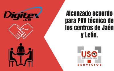 Alcanzado acuerdo para PRV técnico de los centros de Jaén y León.