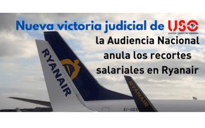 La Audiencia Nacional condena a Ryanair a revertir los recortes salariales. Una nueva sentencia favorable a USO.