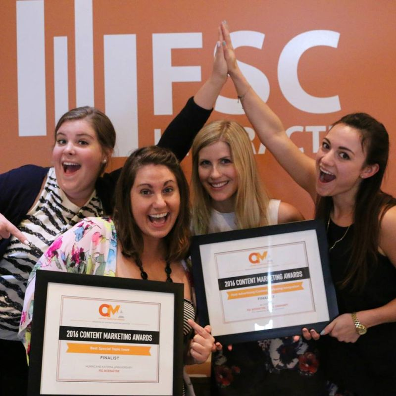FSC Interactive's tourism team celebrating their wins as finalists in two categories for the Content Marketing Awards in 2016.