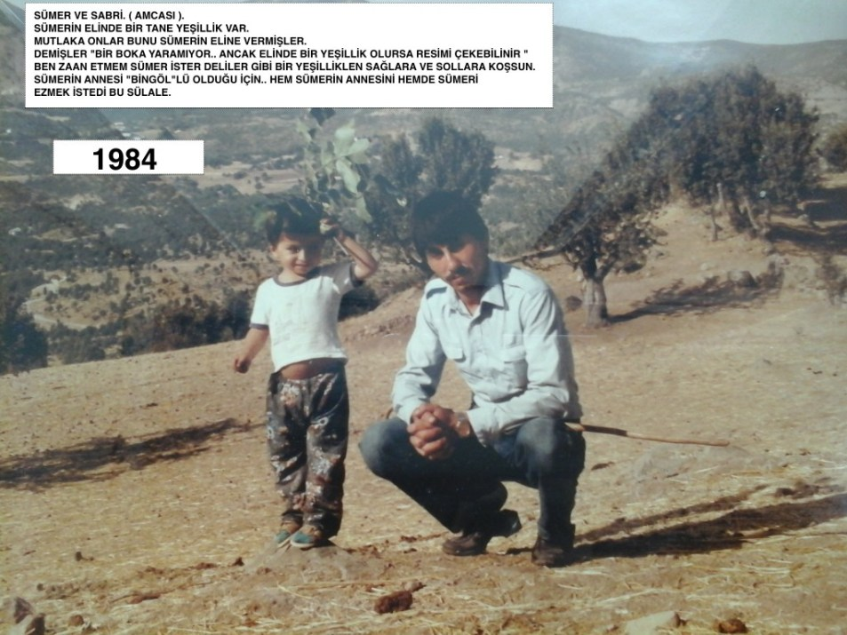 Sumer poses with his father in the desert