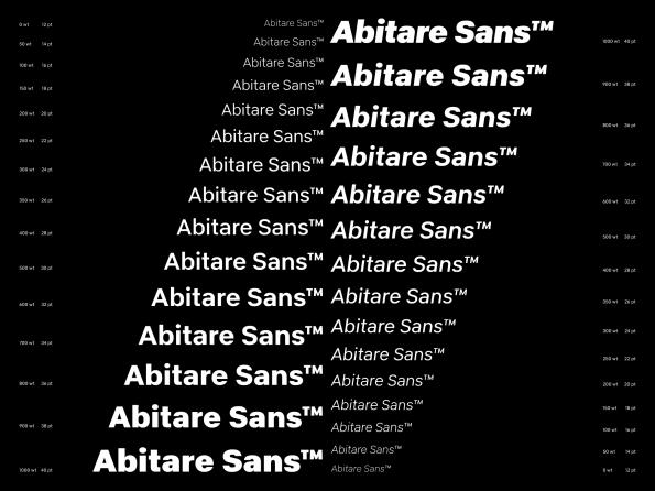 Abitare Sans™ specimen page 4, graphic design by Artiva