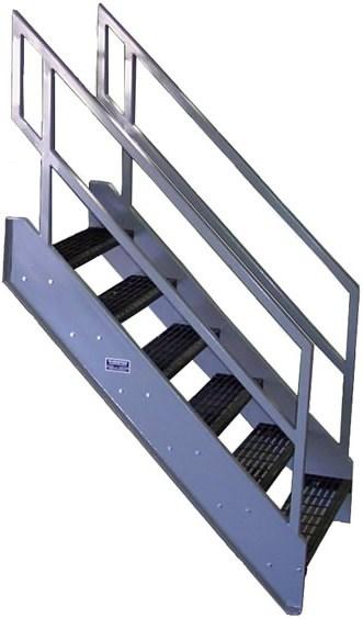Galvanized Stairs Metal Stairs Osha Prefab Stairways | Used Steel Stairs For Sale | Seawall | Exterior | Hinged | Black Metal | Industrial