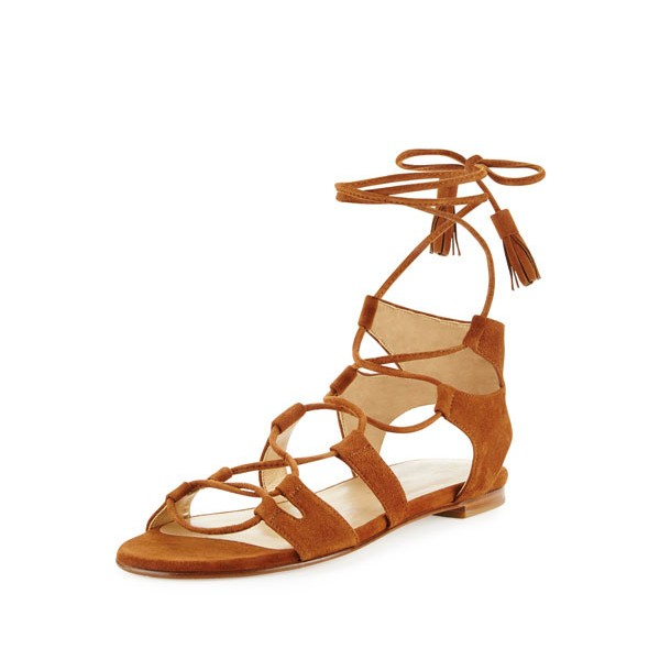 Tan Strappy Flats